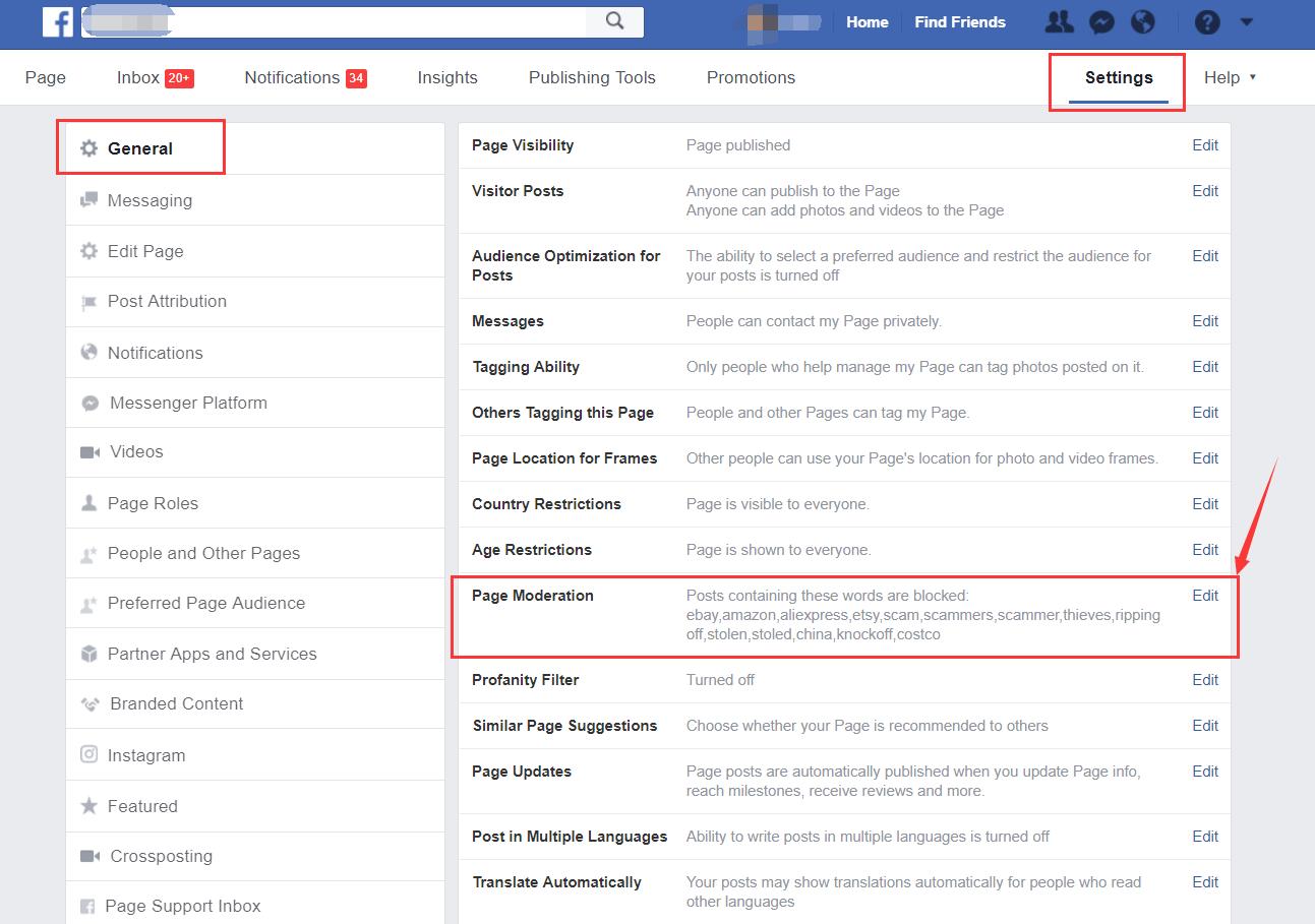 facebook自动删除差评设置